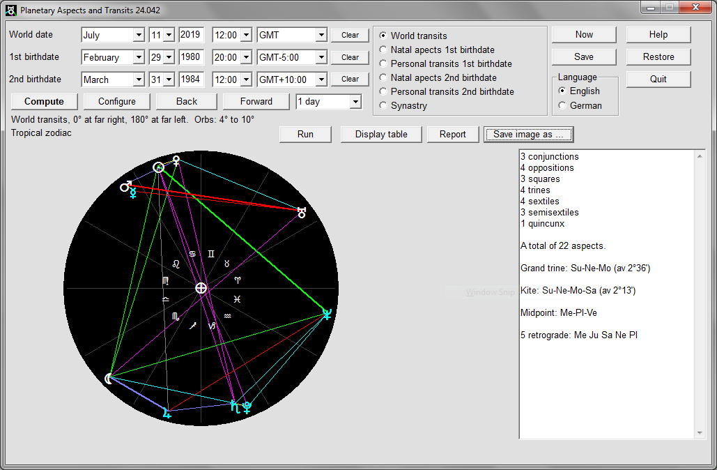 Astrology software to calculate geocentric world transits, natal